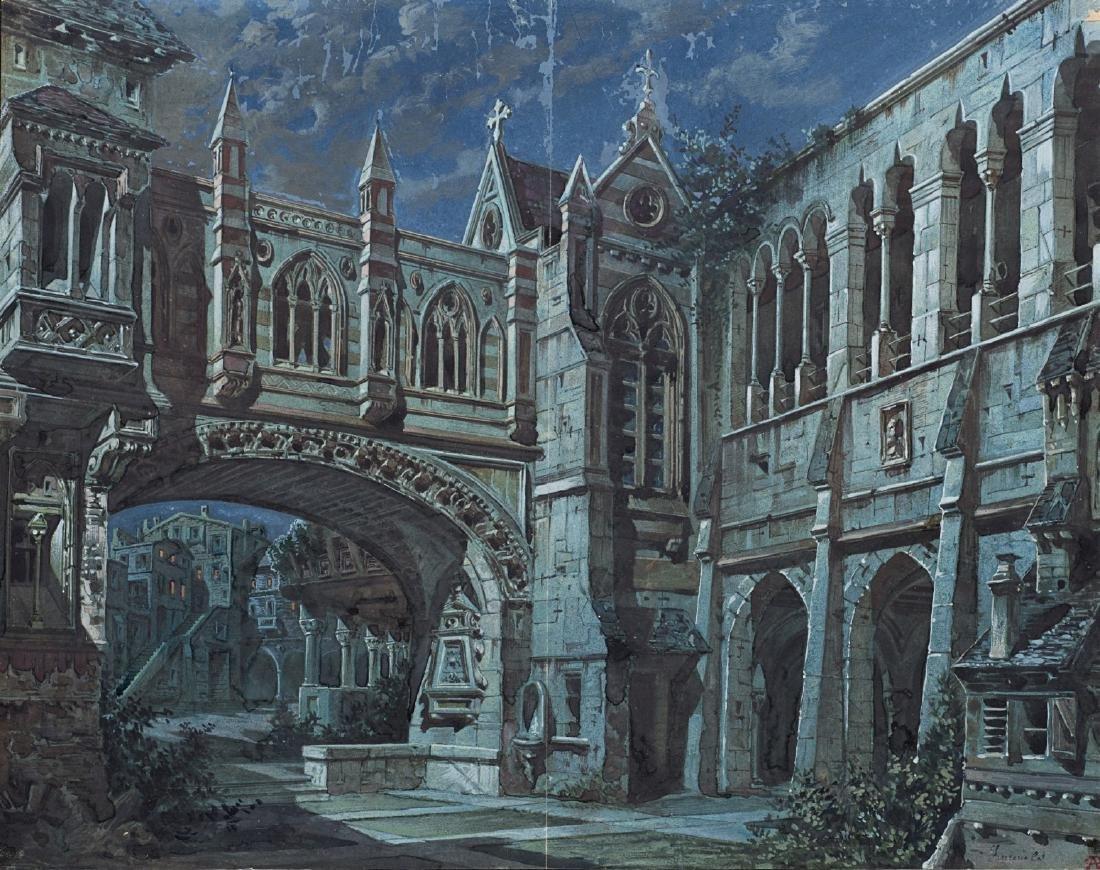 """Scenografo del secolo XIX """"Notturno gotico con colonne"""