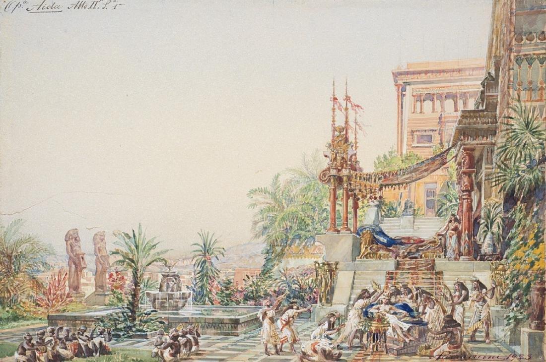 """Angelo Parravicini (Milano 1868 - 1925)""""Scena Egizia"""