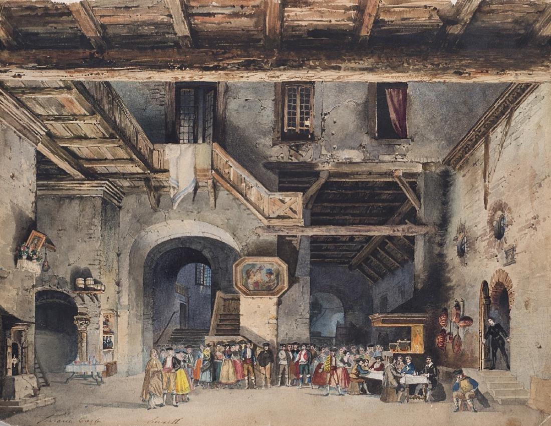 """Carlo Ferrario (Milano 1833 - 1907)""""Scenografia"""