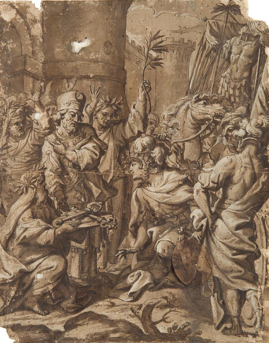 """Scuola italiana, secolo XVII """"Un prete cede le chiavi"""