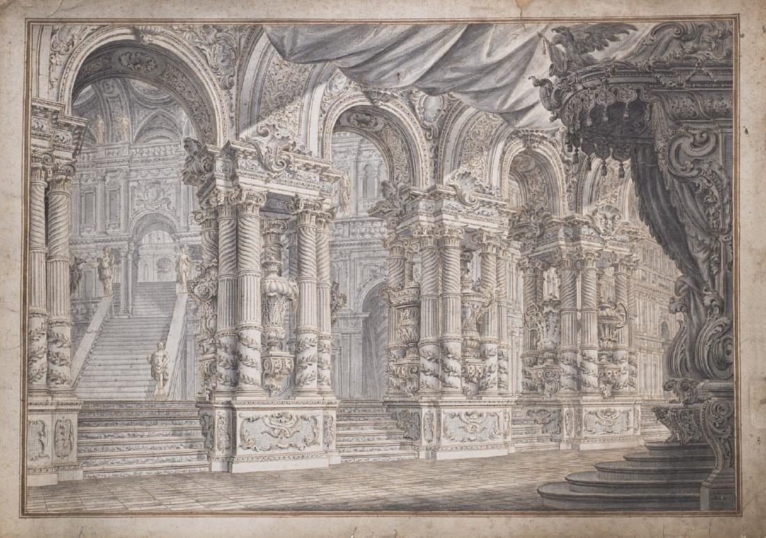 """Ferdinando Galli Bibiena (Bologna 1657 - 1743)""""Atrio di"""