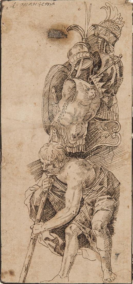 """Da Andrea Mantegna """"Figura virile con armi"""" penna e"""
