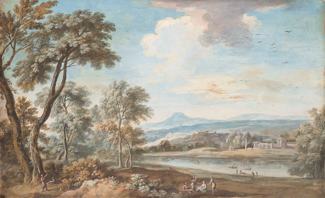 Scuola veneta del secolo XVIIIPaesaggio fluviale con