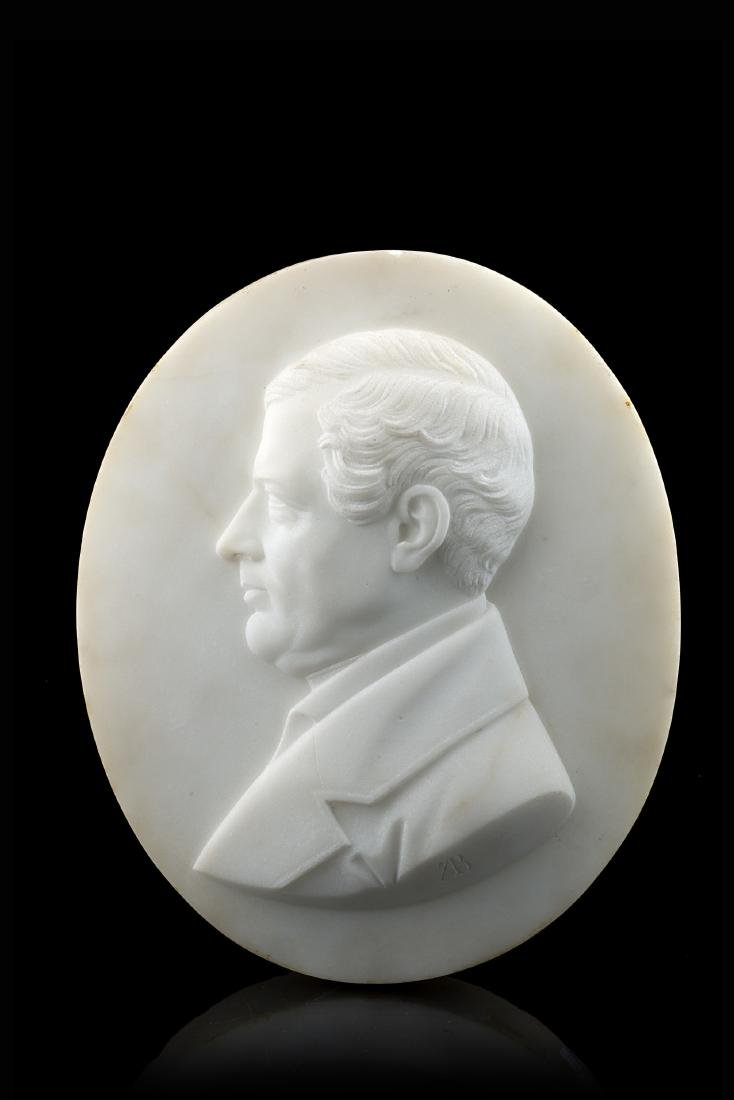 Antonio Bisetti Profilo in marmo scolpito ad