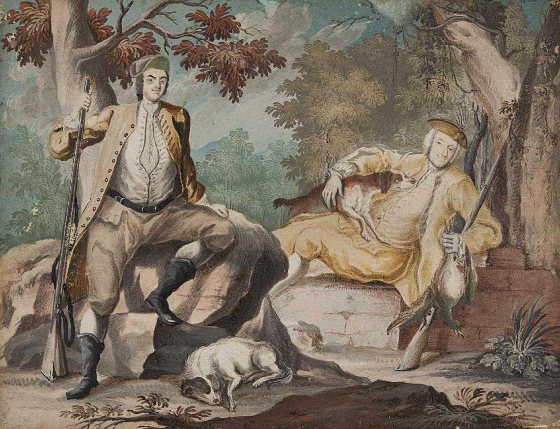 """Scuola lombarda del secolo XVIII """"Cacciatori"""" tempera"""