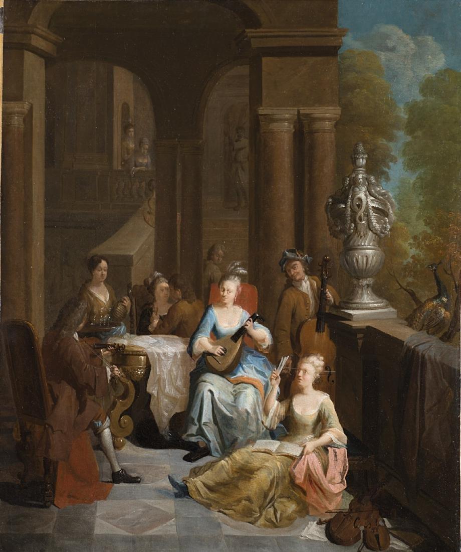 Scuola fiamminga del secolo XVIIIConcerto di musicaolio