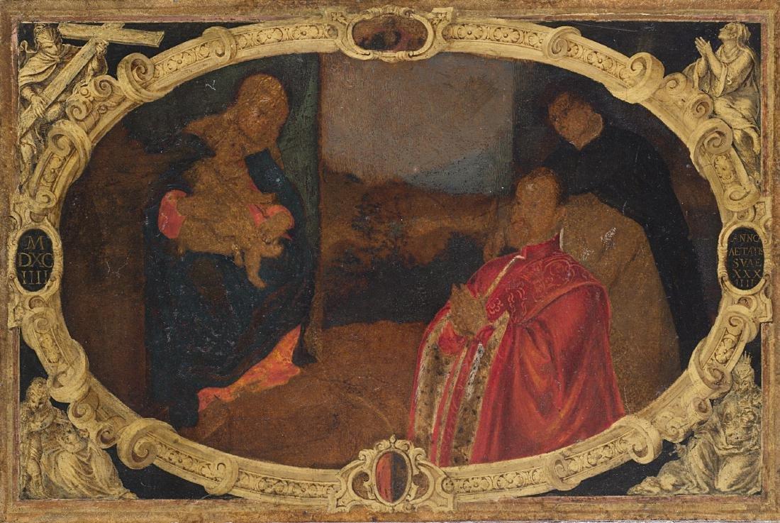 Scuola veneta del secolo XVIMadonna con Bambino e Doge