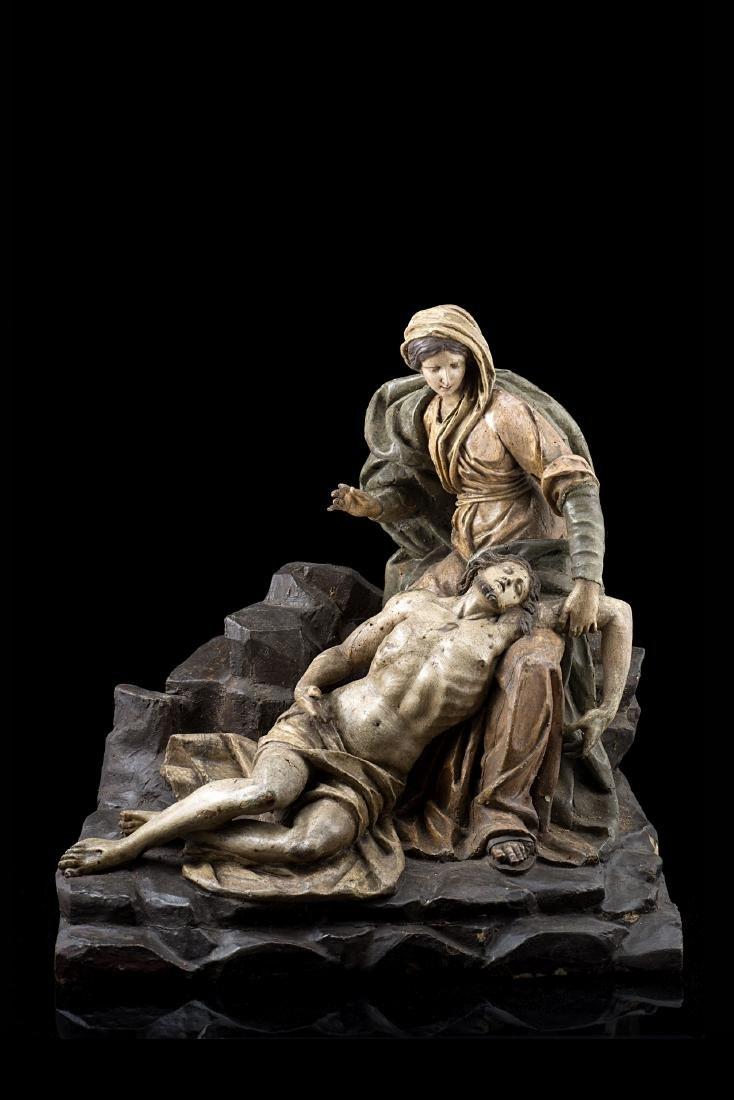 """Arte del secolo XVIII """"Deposizione"""" gruppo scultoreo in"""