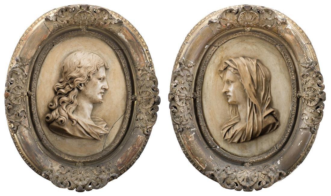 """Arte del secolo XIX """"Cristo e la Vergine"""" coppia di"""