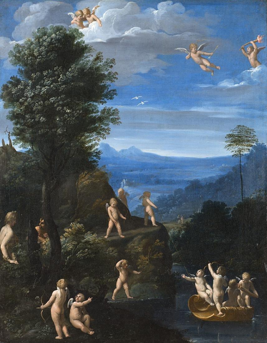 Cerchia di Francesco AlbaniPutti in un paesaggioolio su