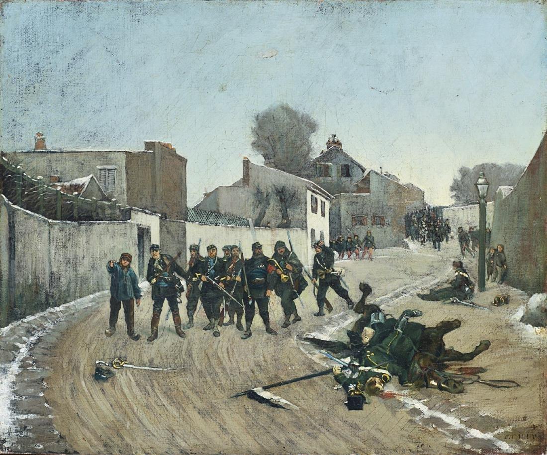 E. Tally ''Soldati'' olio su tela (cm 36x46) in cornice