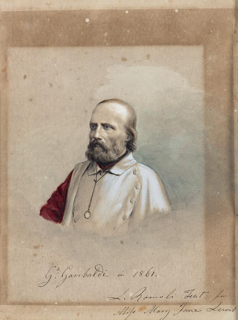 """L. Romoli """"Ritratto di Giuseppe Garibaldi, datato 1861"""""""