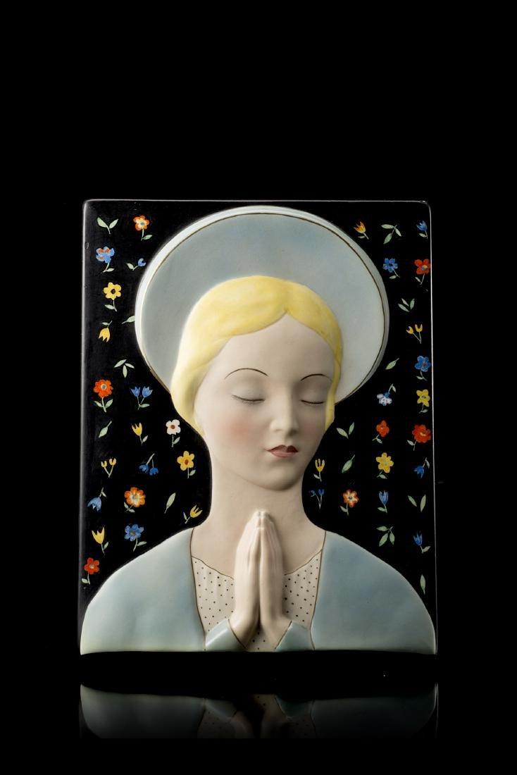 """Lenci """"Madonna""""Formella in ceramica formata a colaggio"""