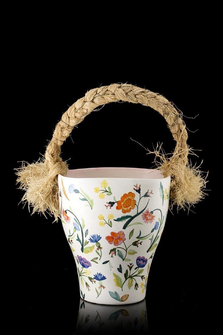 """Lenci """"Vaso con manico raphia""""Ceramica formata a"""