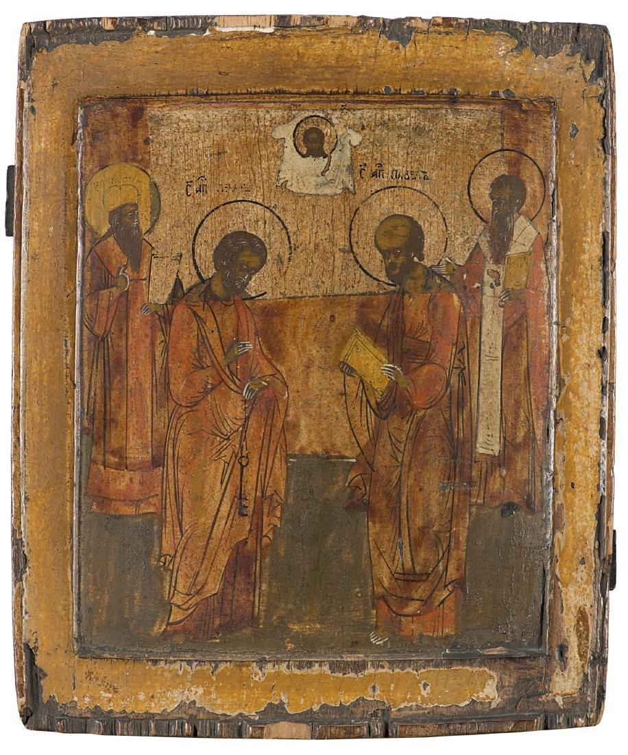 """Arte russa, inizio secolo XIX """"Santi"""" icona ad olio su"""