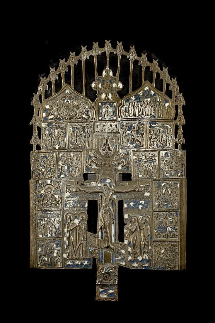 Arte russa, secolo XIX. Icona in bronzo smaltato (cm