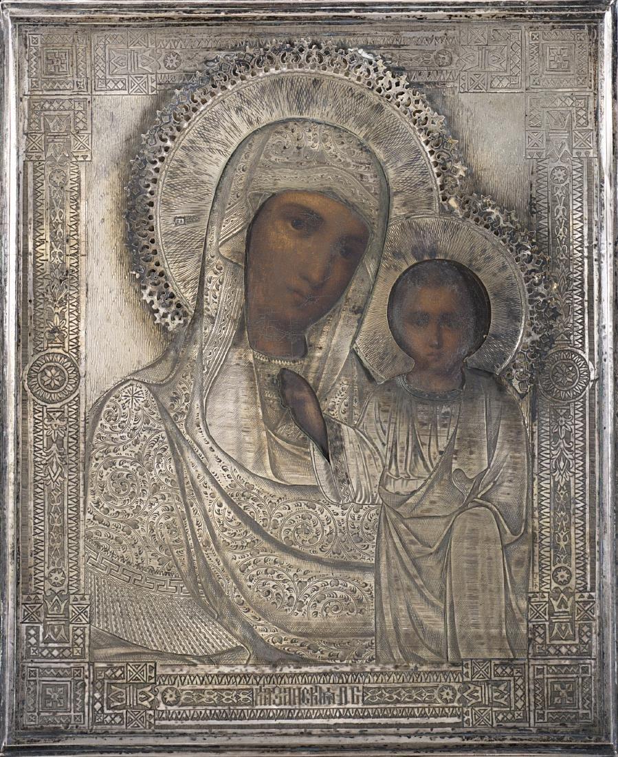 Icona raffigurante Madonna di Kazan con riza in argento