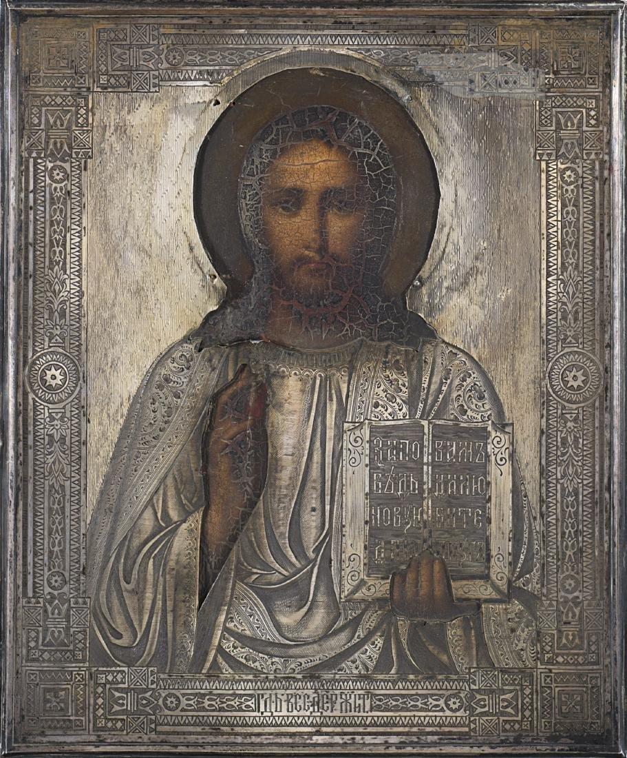 Icona raffigurante Cristo benedicente con riza in