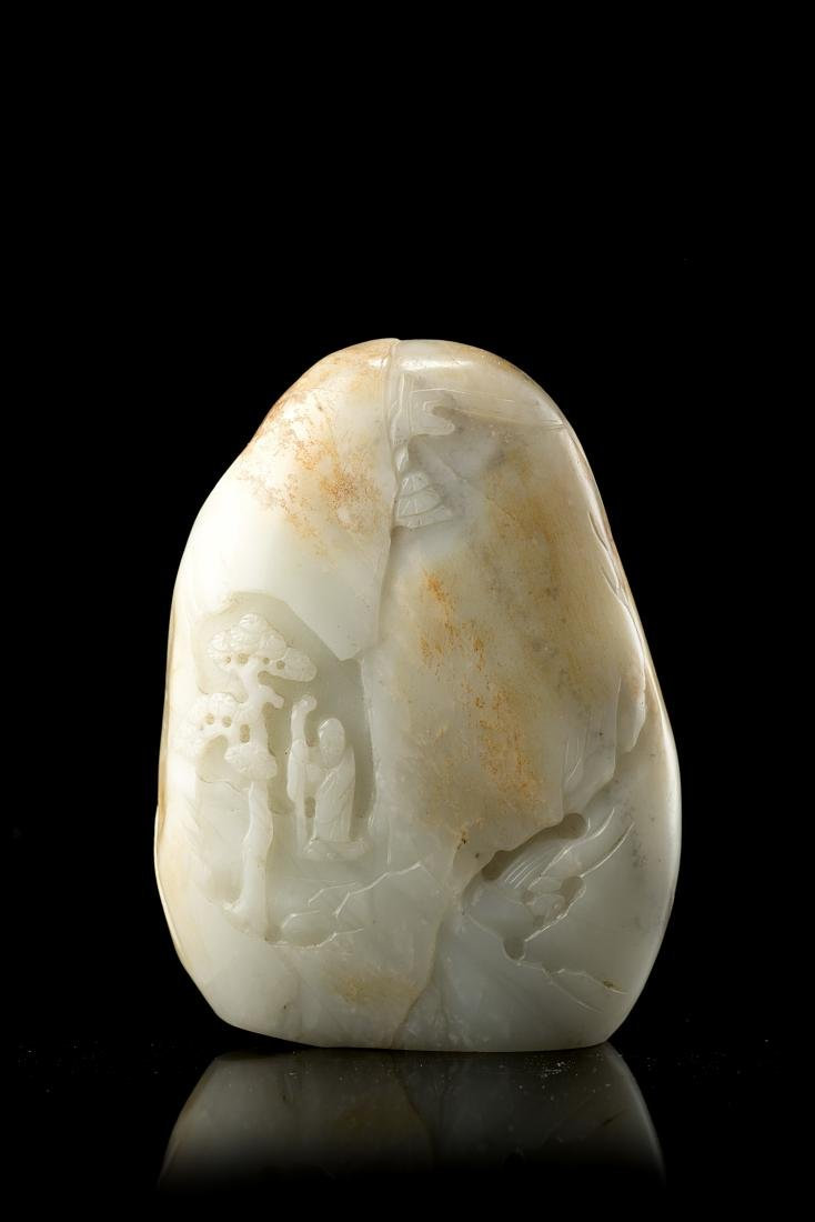 A mutton-fat jade boulder carved with a sage in a