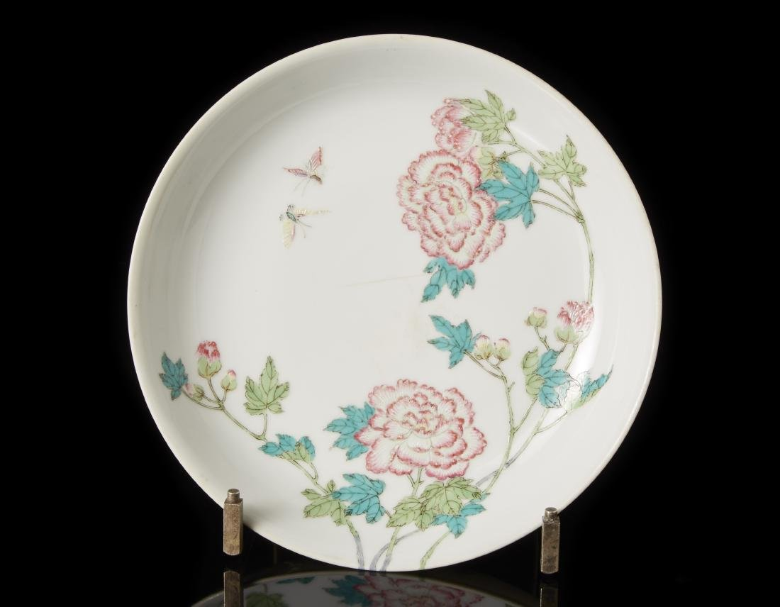 A Famille Rose porcelain dish decorated with flowering