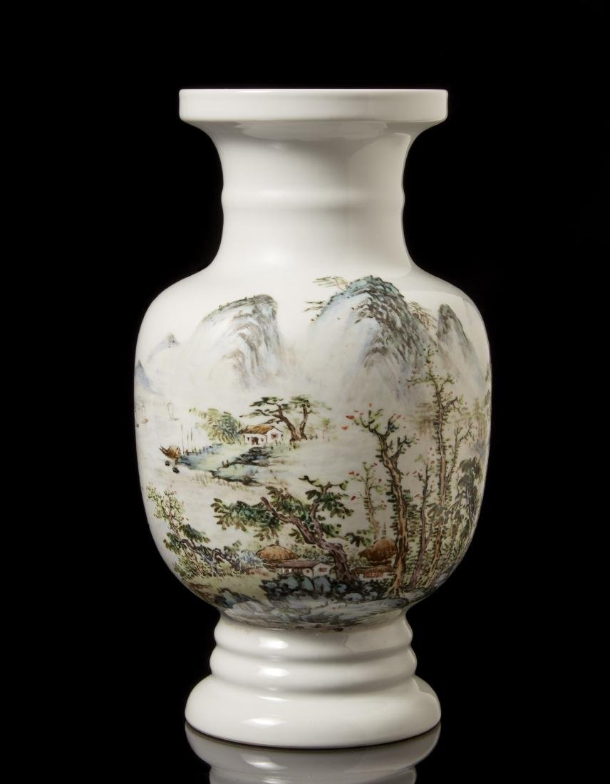A polychrome-enamelled porcleain vase decorated with a
