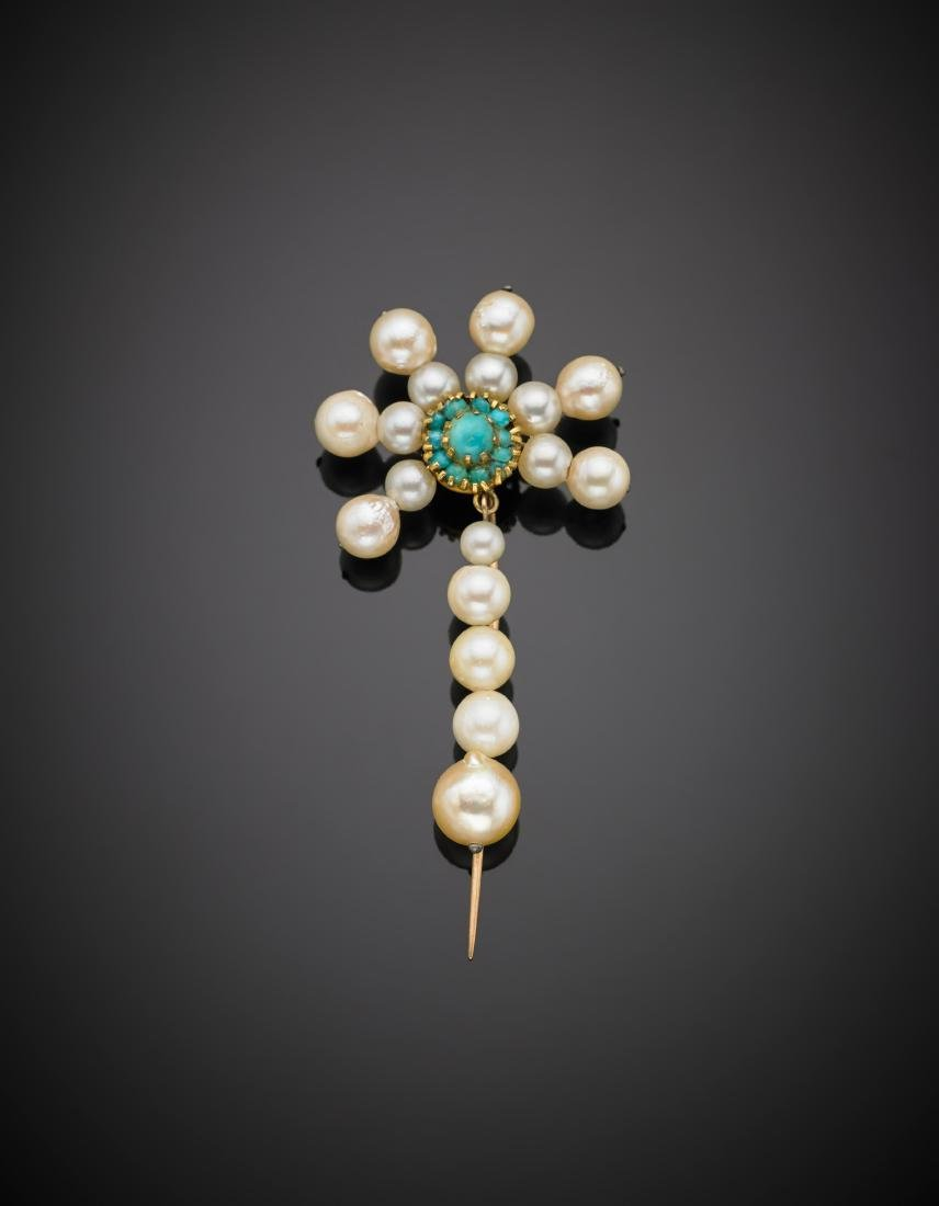 Pearl and cabochon turquoise yellow gold pin, g 7.20,