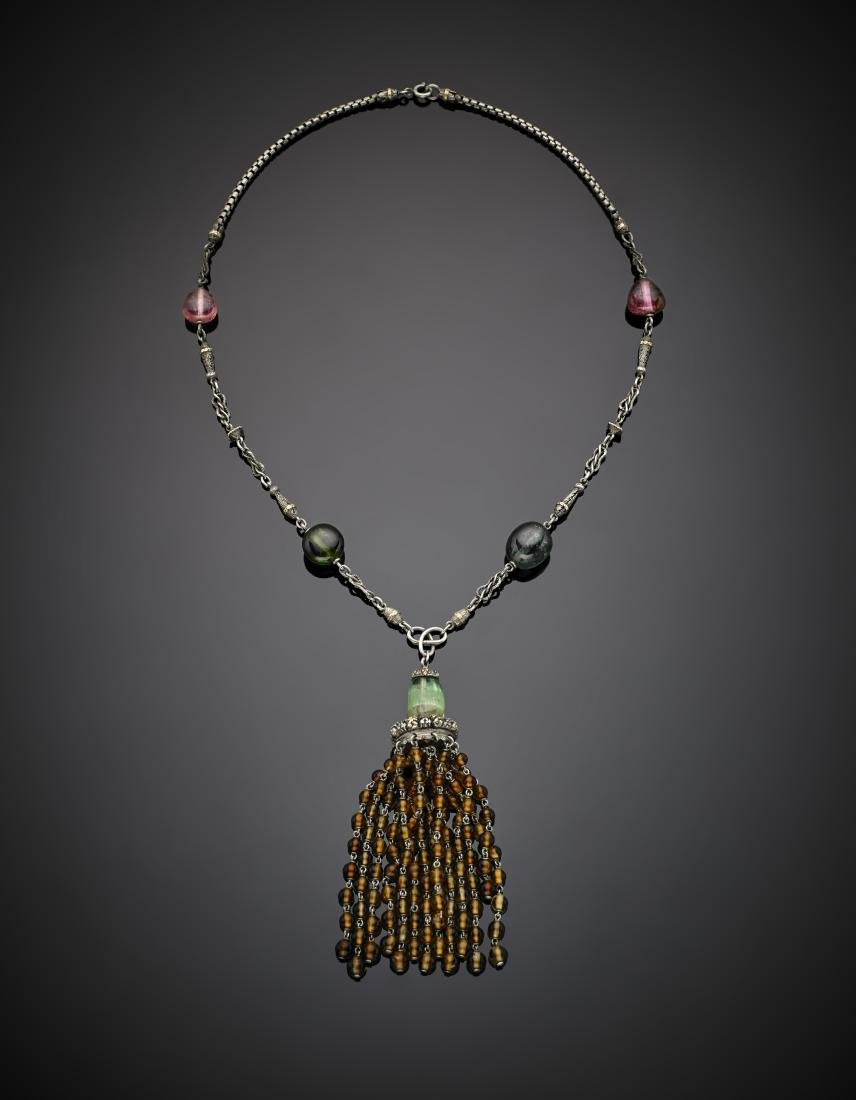 Tourmaline and quartz bead silver and gold necklace