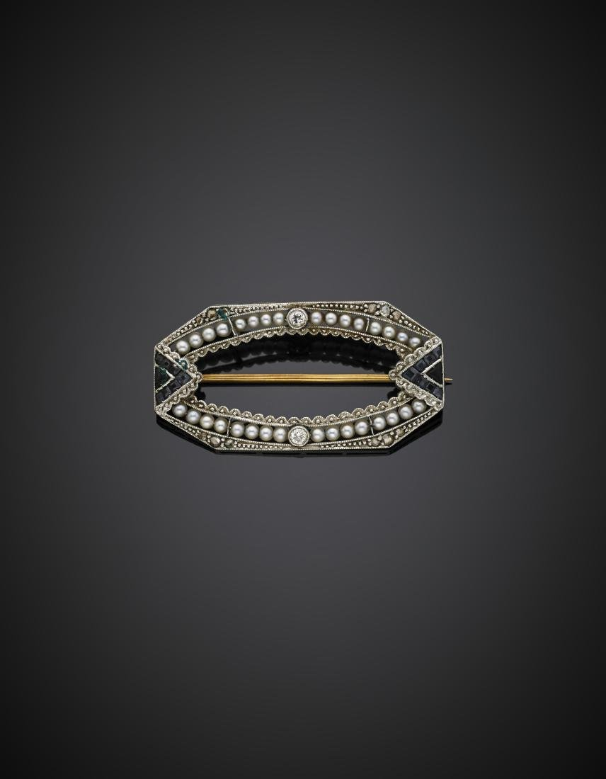 Rose cut diamond, seed pearl and carré sapphire gold