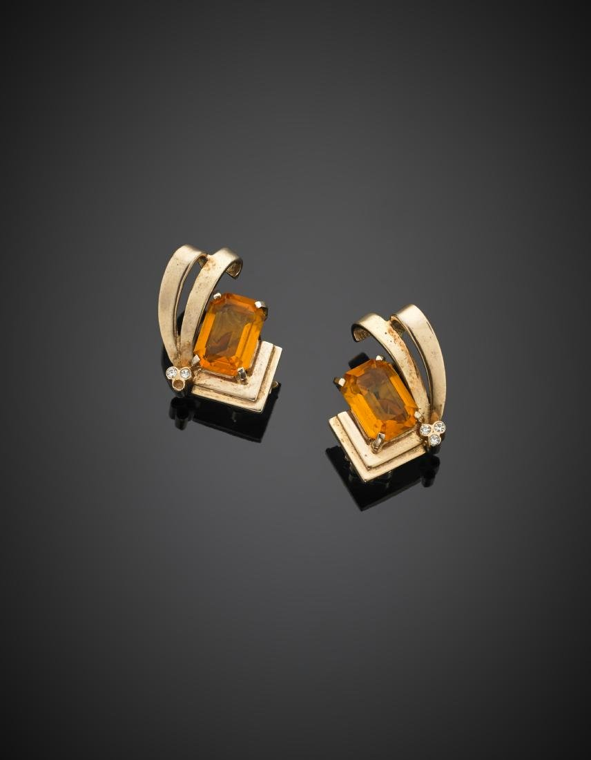 Red 9K gold octagonal citrine quartz and diamond