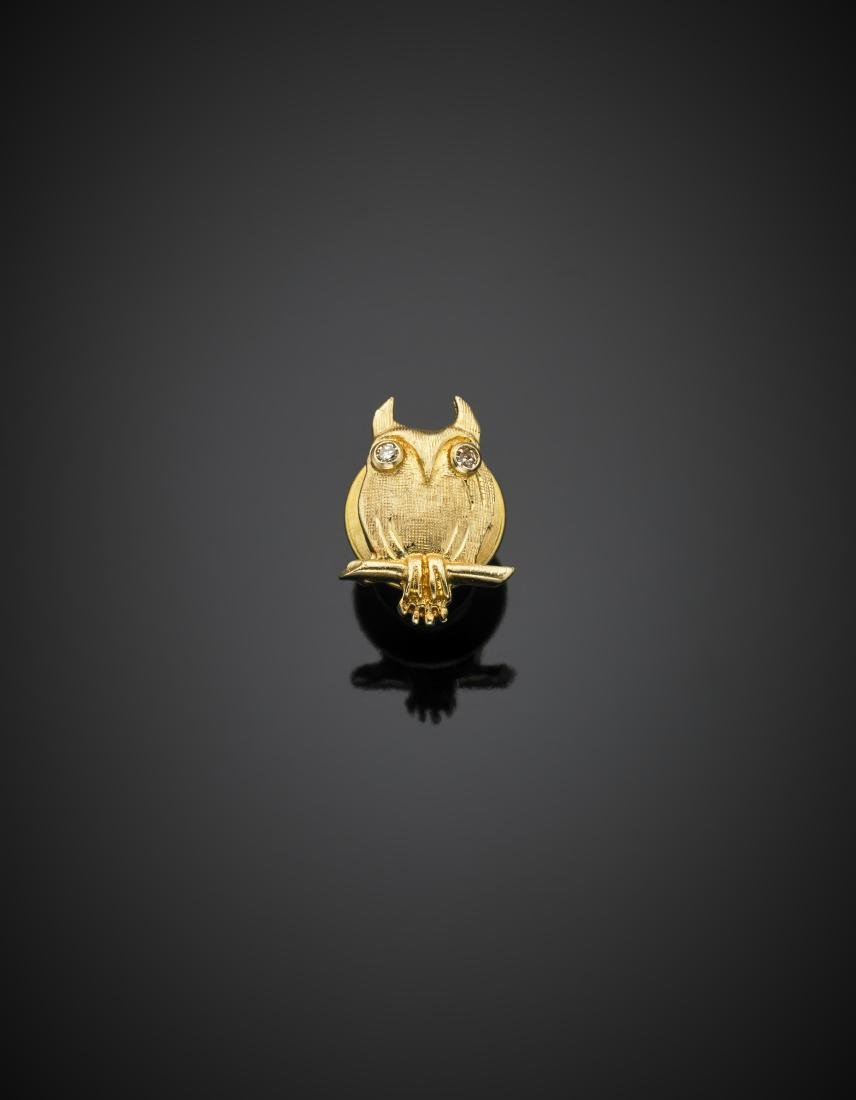 Yellow glazed gold owl pin accented with diamonds, g