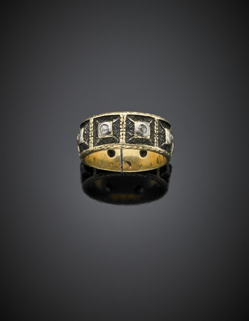 Yellow gold, silver and rose cut diamond band ring