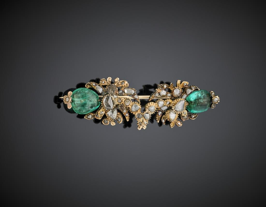 Two emerald bead and rose cut diamond yellow 14K gold