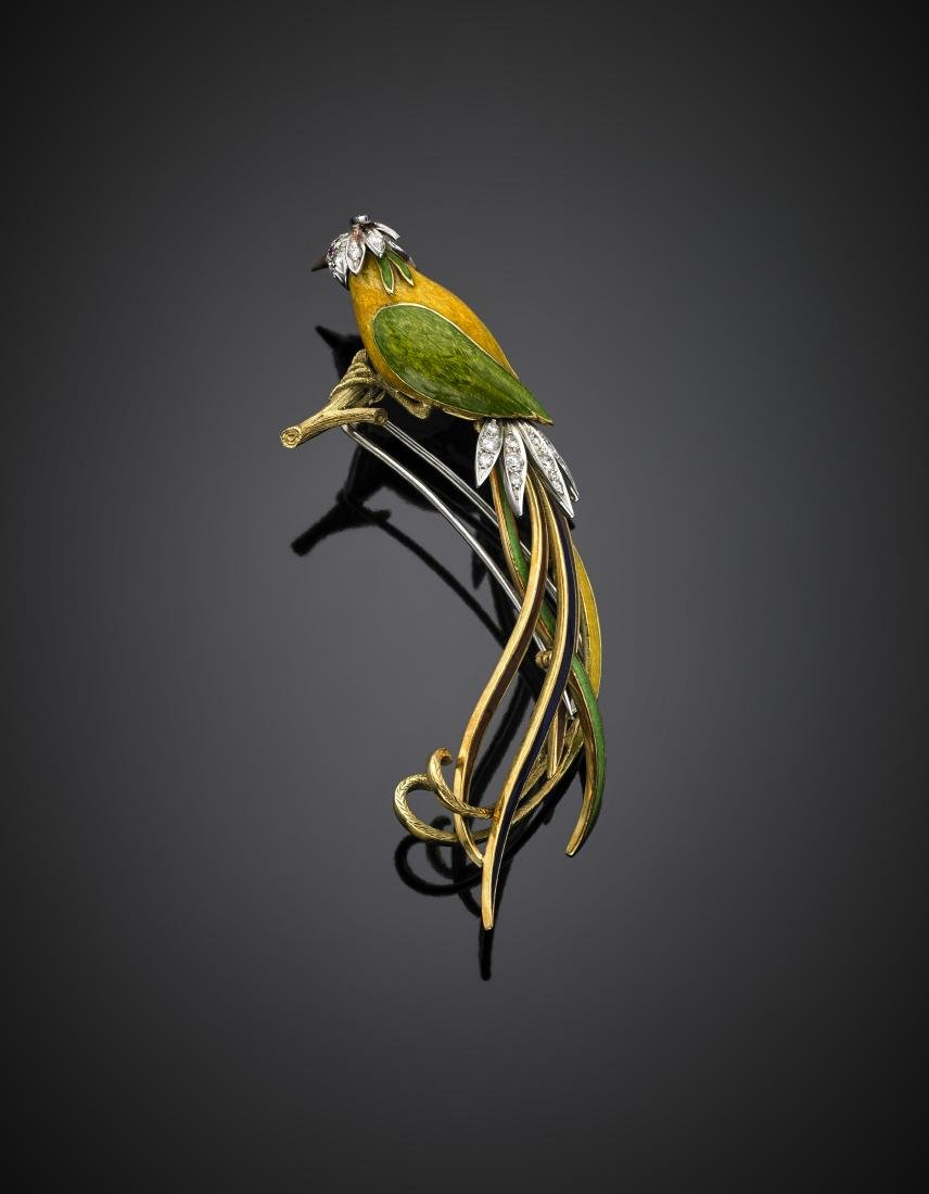 Diamond and enamel bird of paradise bi-coloured gold