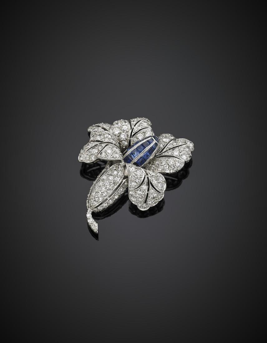 Round diamond and calibré sapphire lily brooch, g
