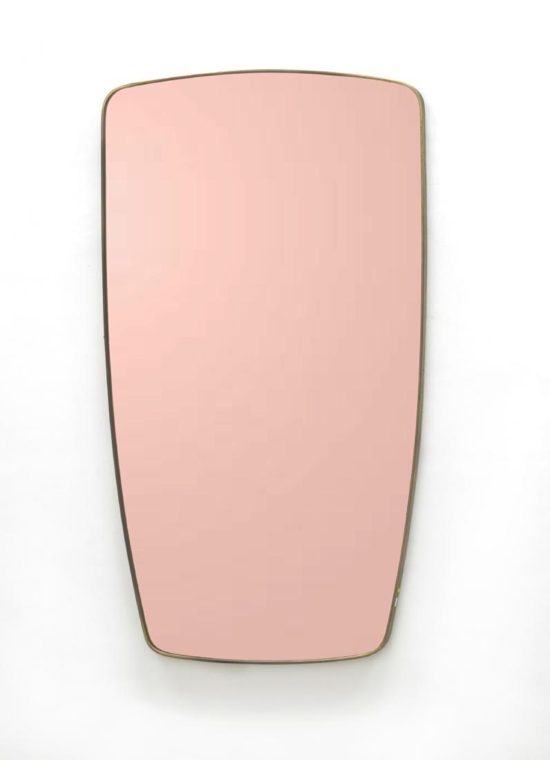 Specchio in vetro rosambrato con cornice in ottone e
