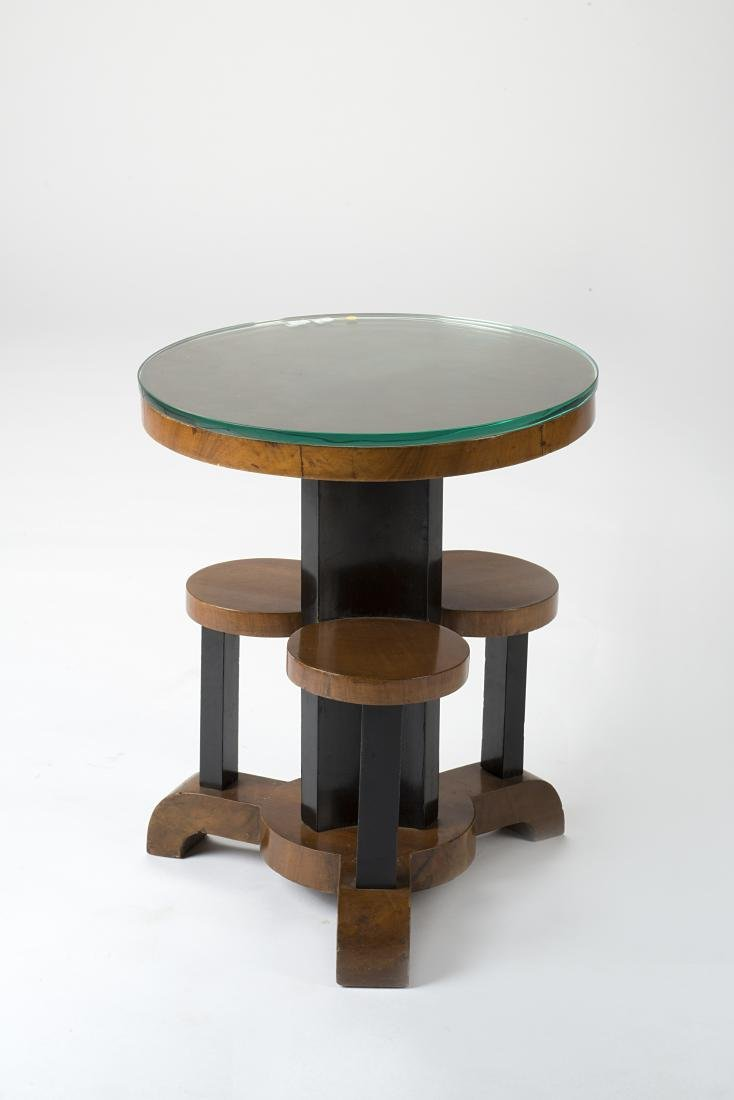 Small art déco circular pedestal with main level and