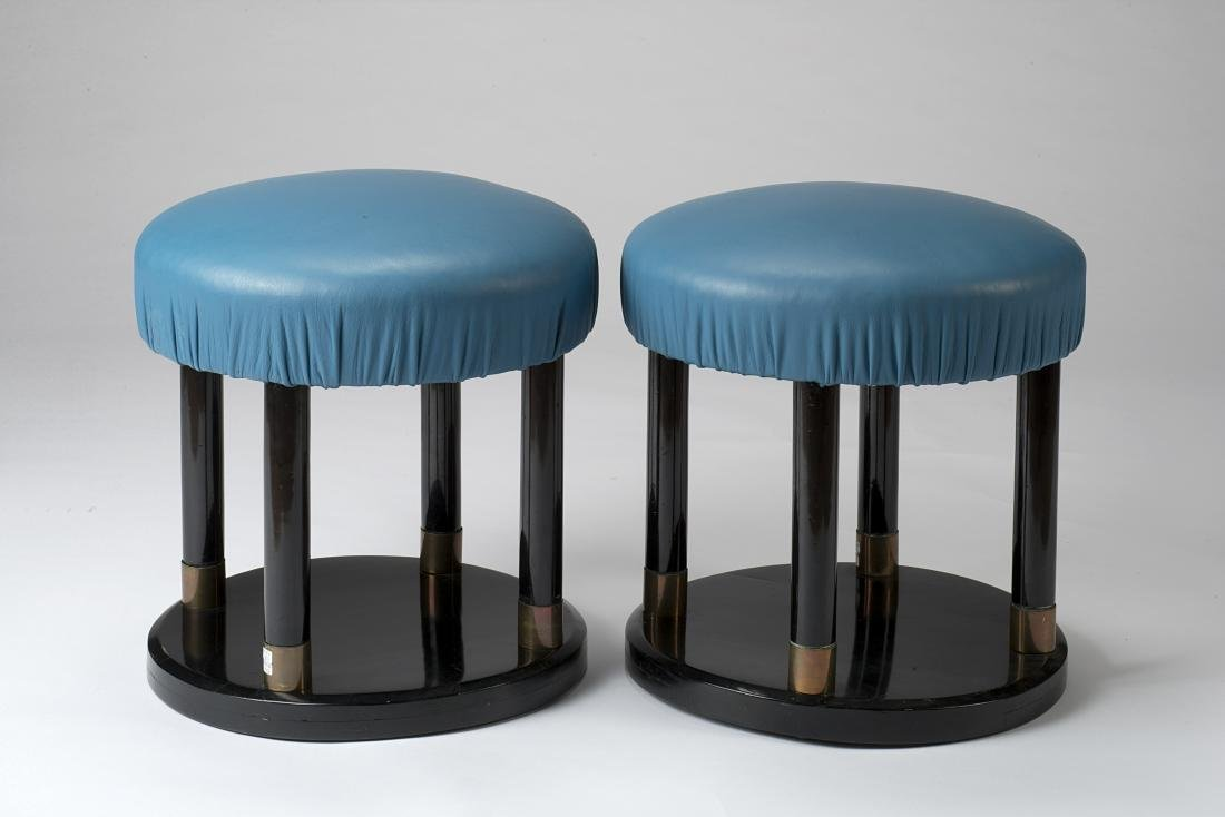 A pair of art déco stools. 1930s. (h 43 cm.; d 40.5