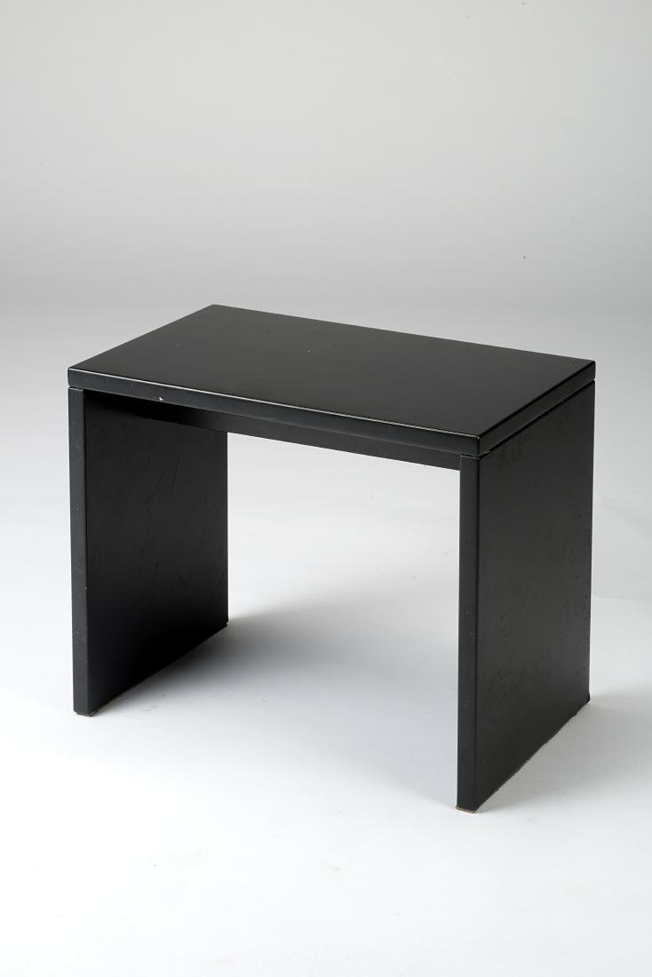 Black opaque wood stool. Italy, second half 20th