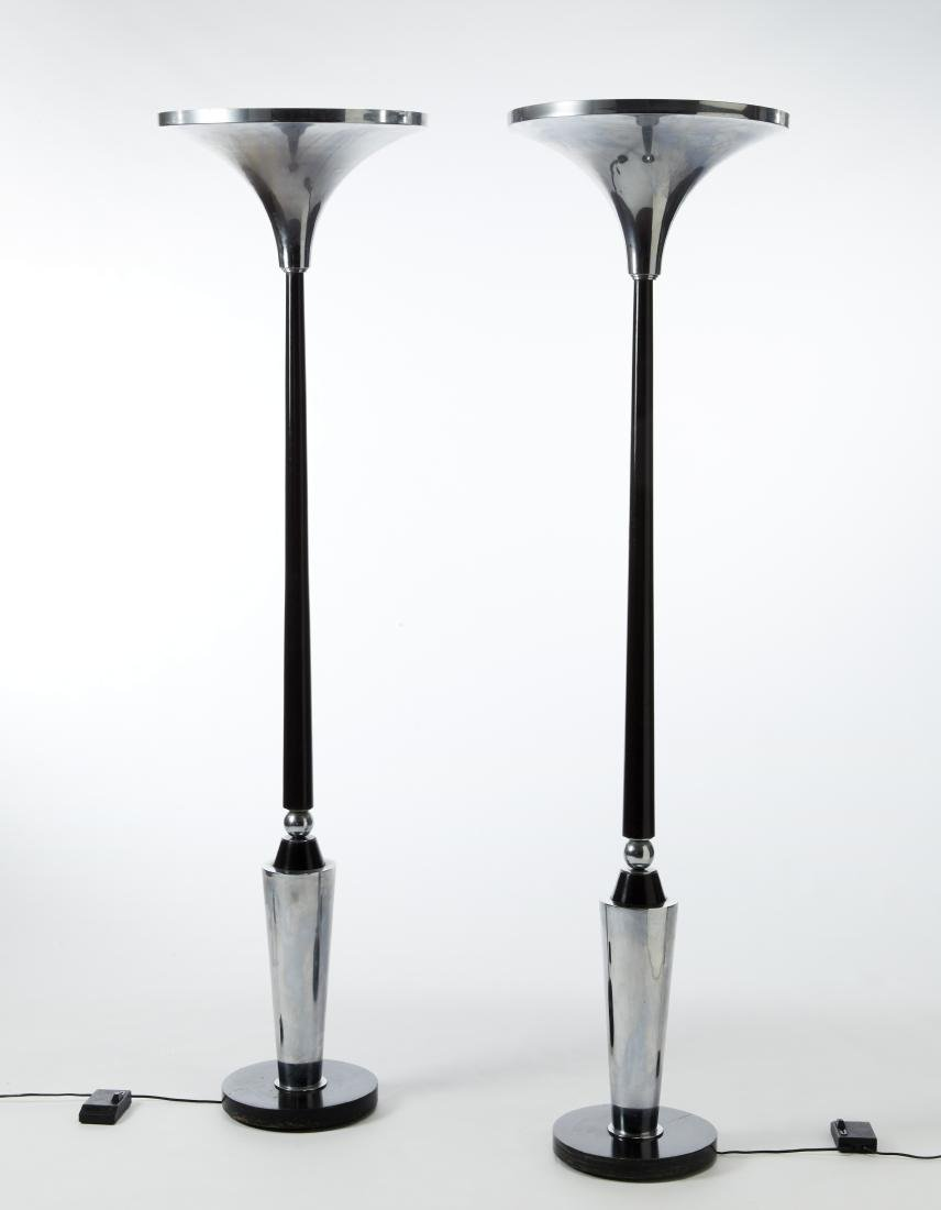 Two art déco floor lamps. 20th century. (h cm 187; h cm