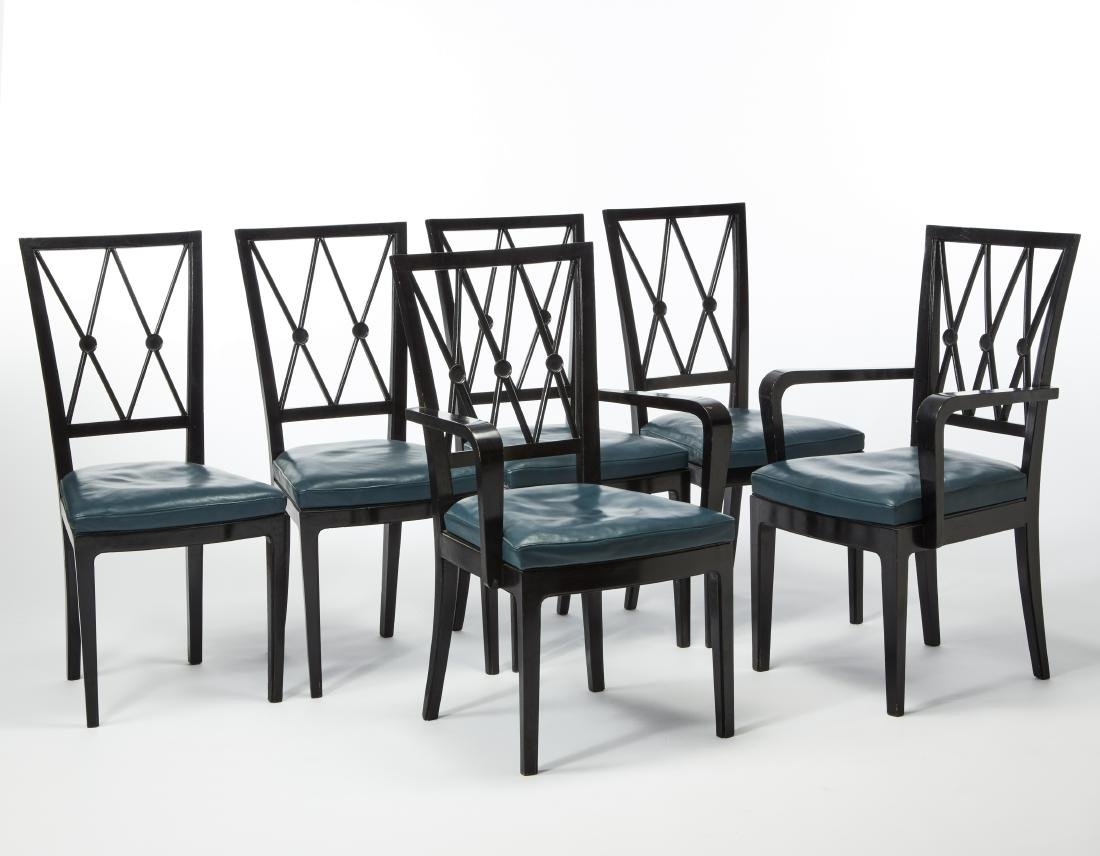 Lot comprising four chairs and two armchairs. Italy,