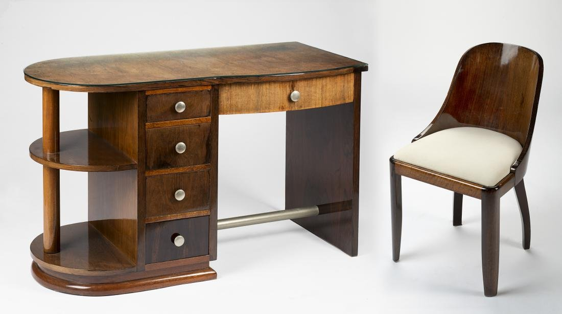 Art déco desk with four drawers, veneered with wood,