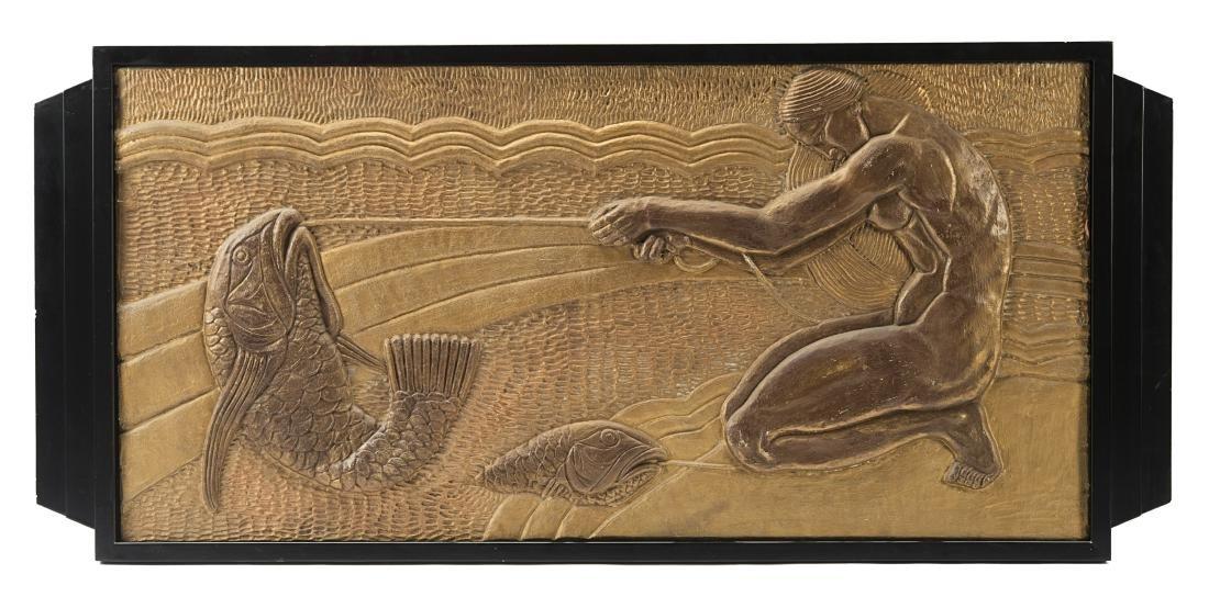 """""""Pesca""""Art déco bas-relief. 1930s. (75x152"""
