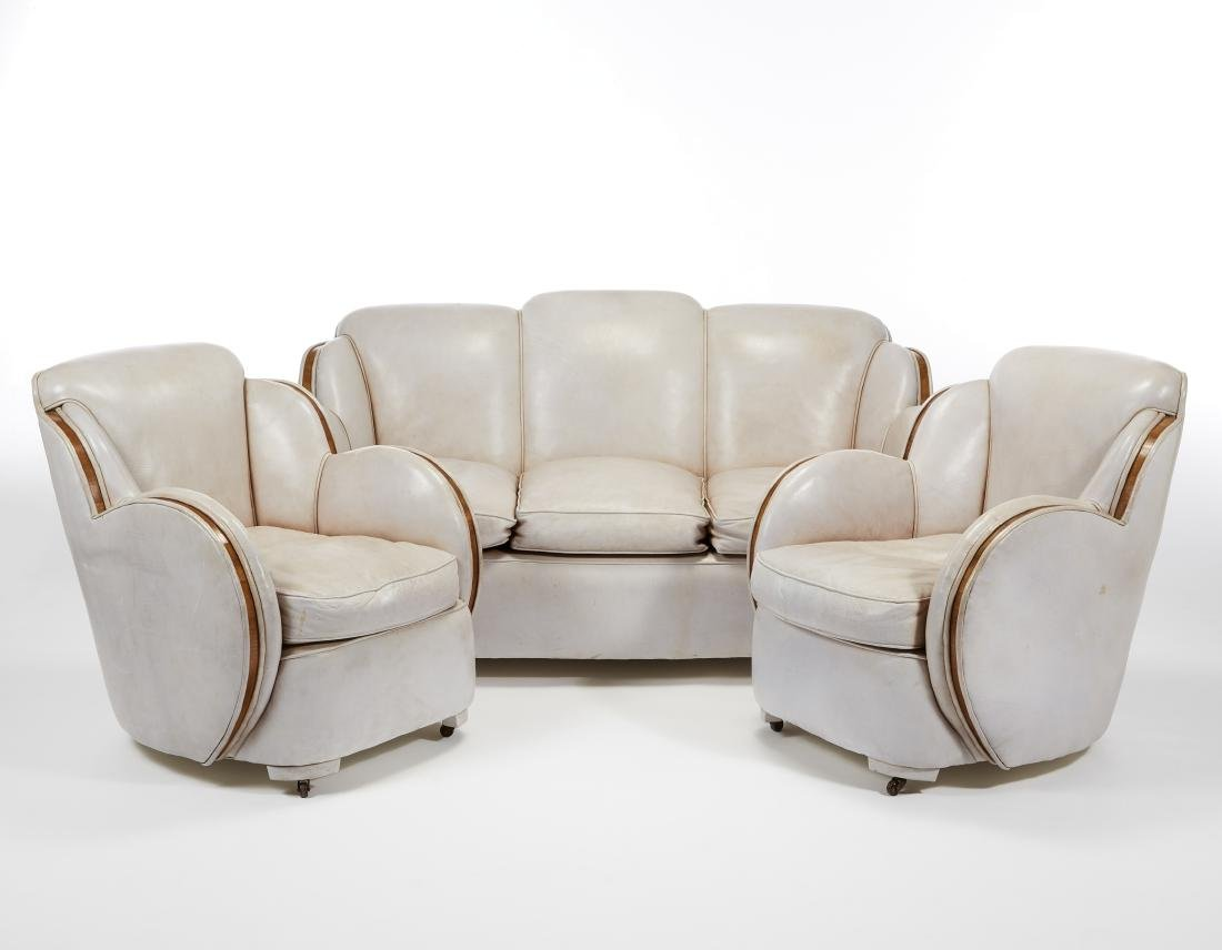 Lot comprising a three seat sofa and two art déco