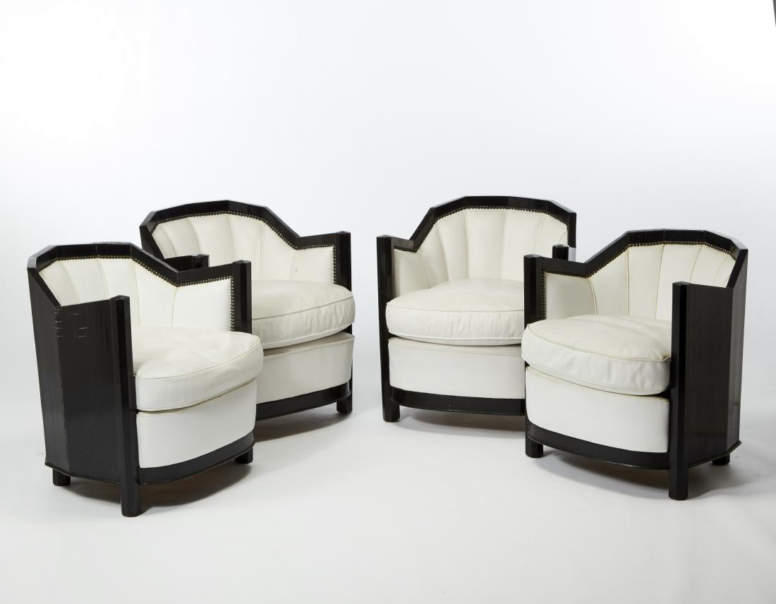 Four art déco armchairs. 20th century. (64x68x65 cm.)