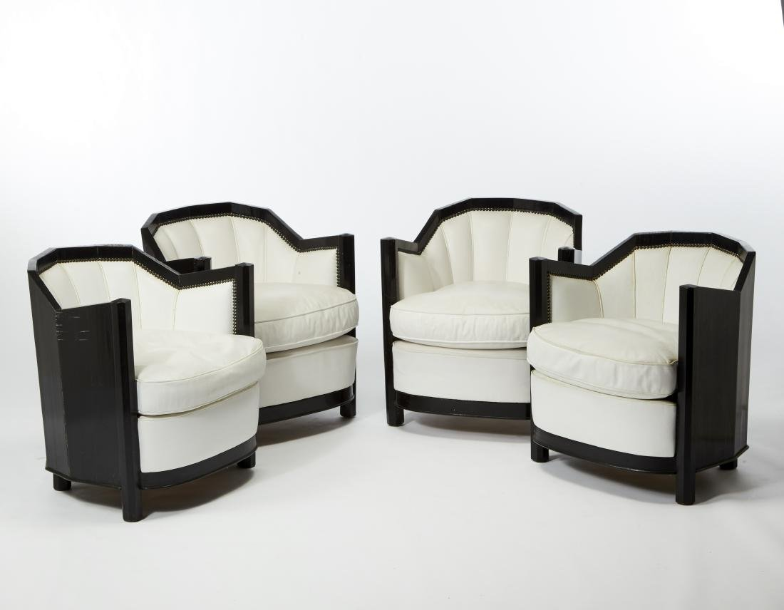Four art déco armchairs. 20th century. (64x68x65 cm.)