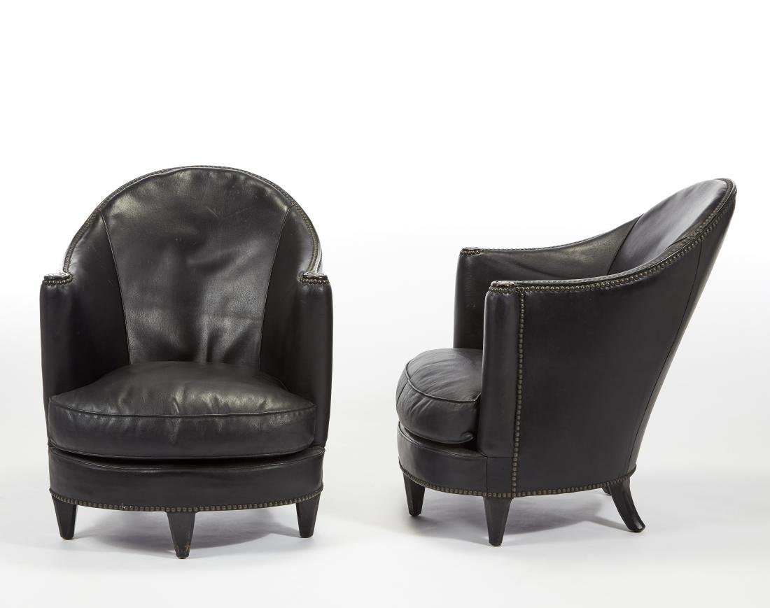 Two french style art dèco armchairs. 20th century.