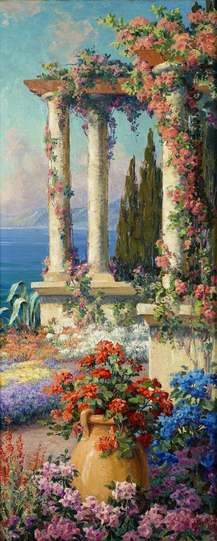 """H. Mouthier """"Scorcio di giardino sul mare""""Olio su tela."""