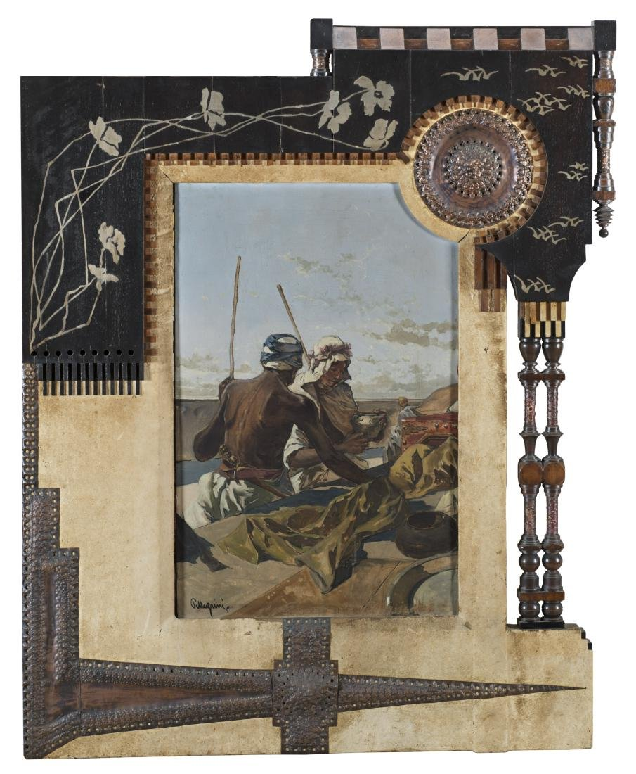 Bugatti (bottega di) Painting. Ebony frame partially