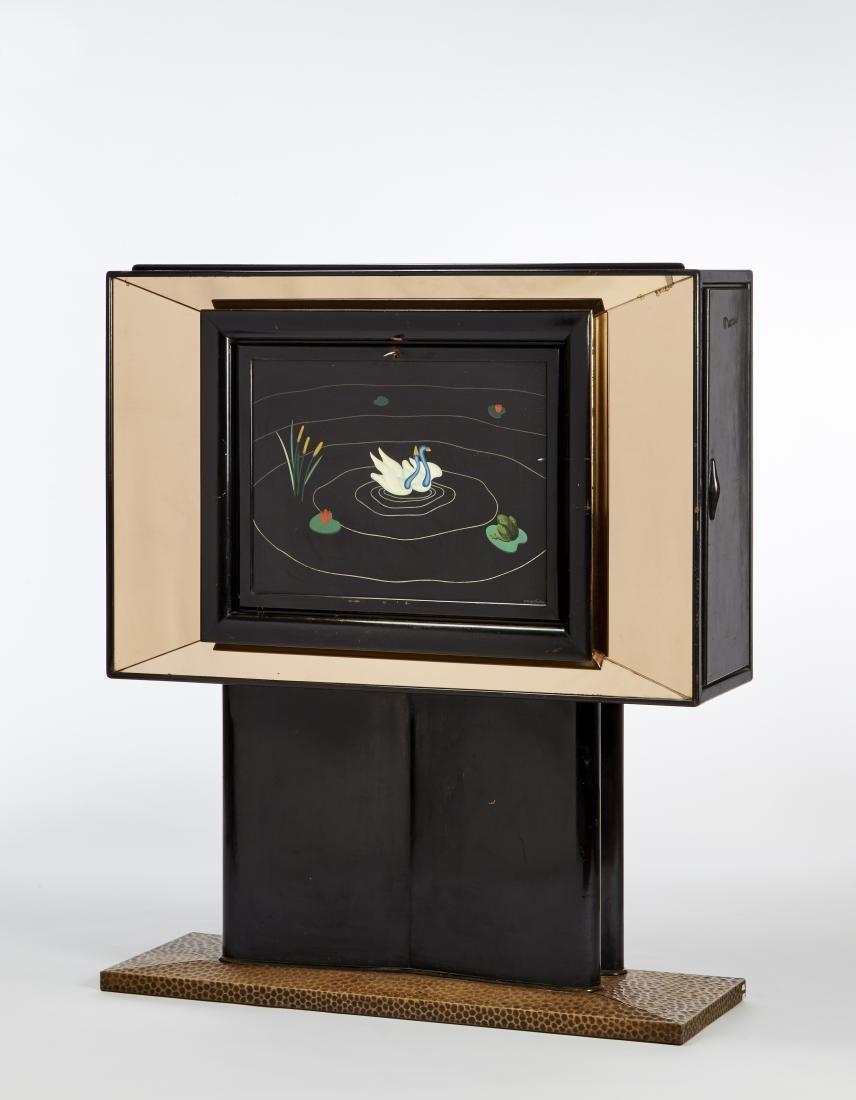 Mobile bar in legno ebanizzato con specchiature in