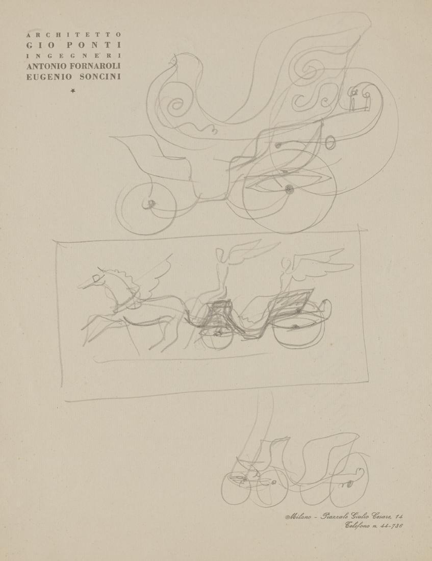 """Gio Ponti (Milano 1891 - Milano 1979)""""Carro con"""